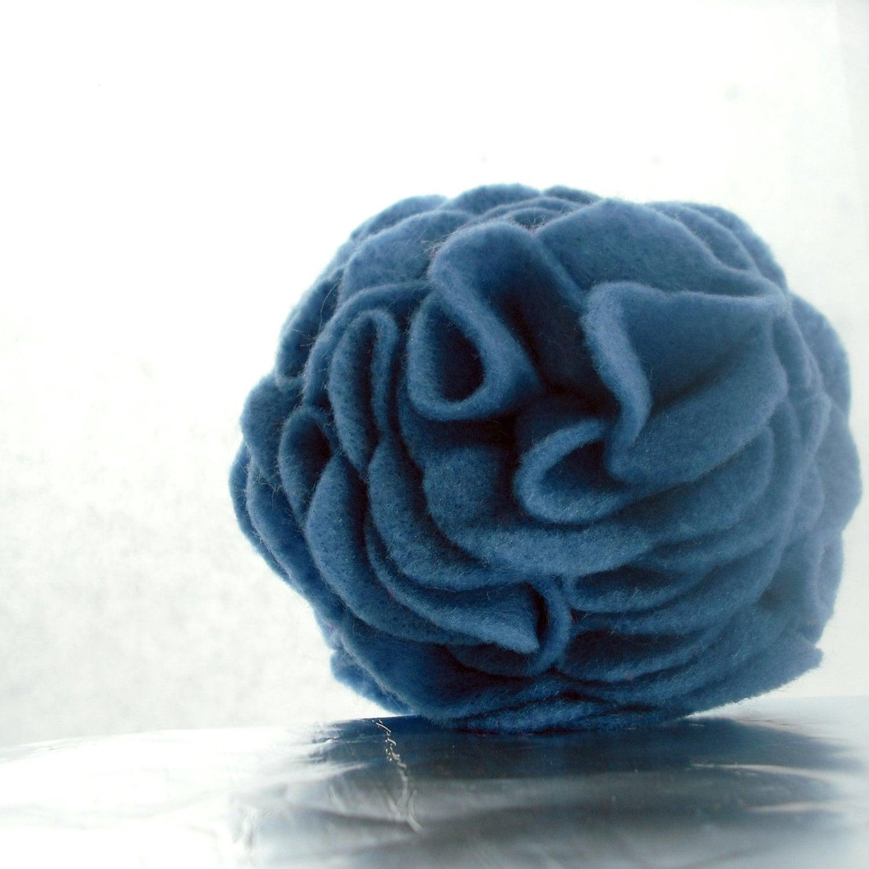 Handmade Blue Felt Flower Brooch Pin - dahlies