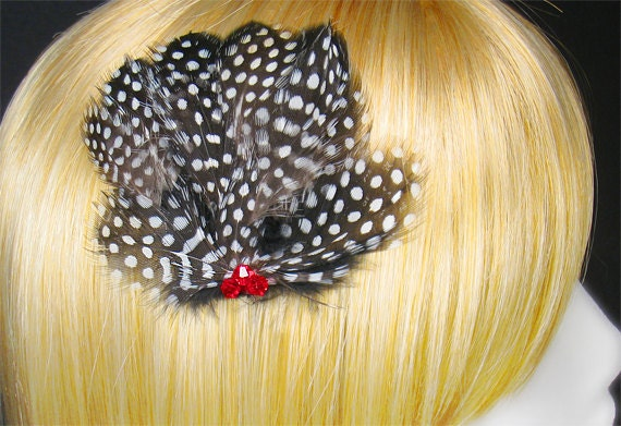 Black hair clip white feathers red crystals fascinators goth wedding gothic