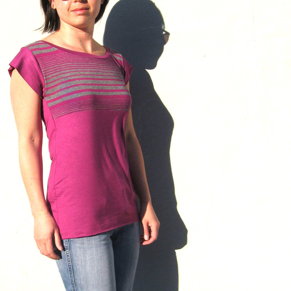 JANUARY SPECIAL Fuchsia Striped Tee with Coordinating Waist- Made to Order - finchdesignsf