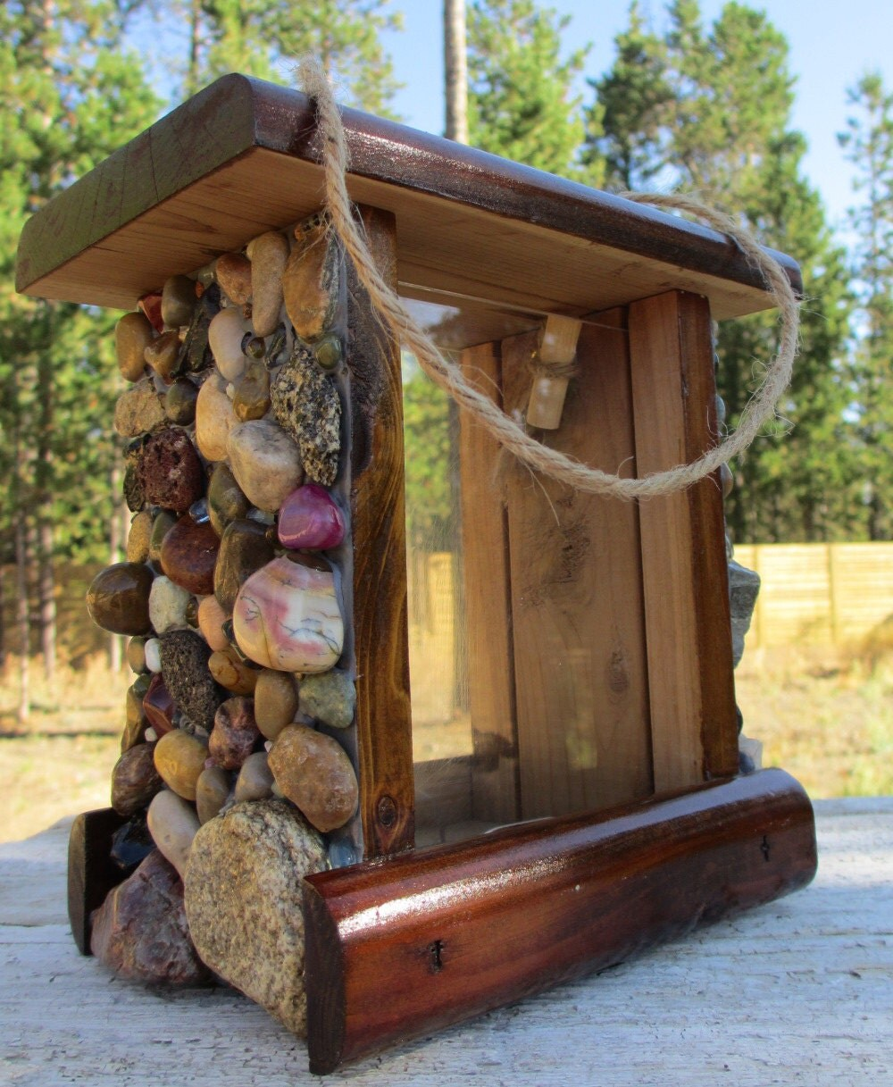 Up-cycled Mosaic Stone Bird Feeder