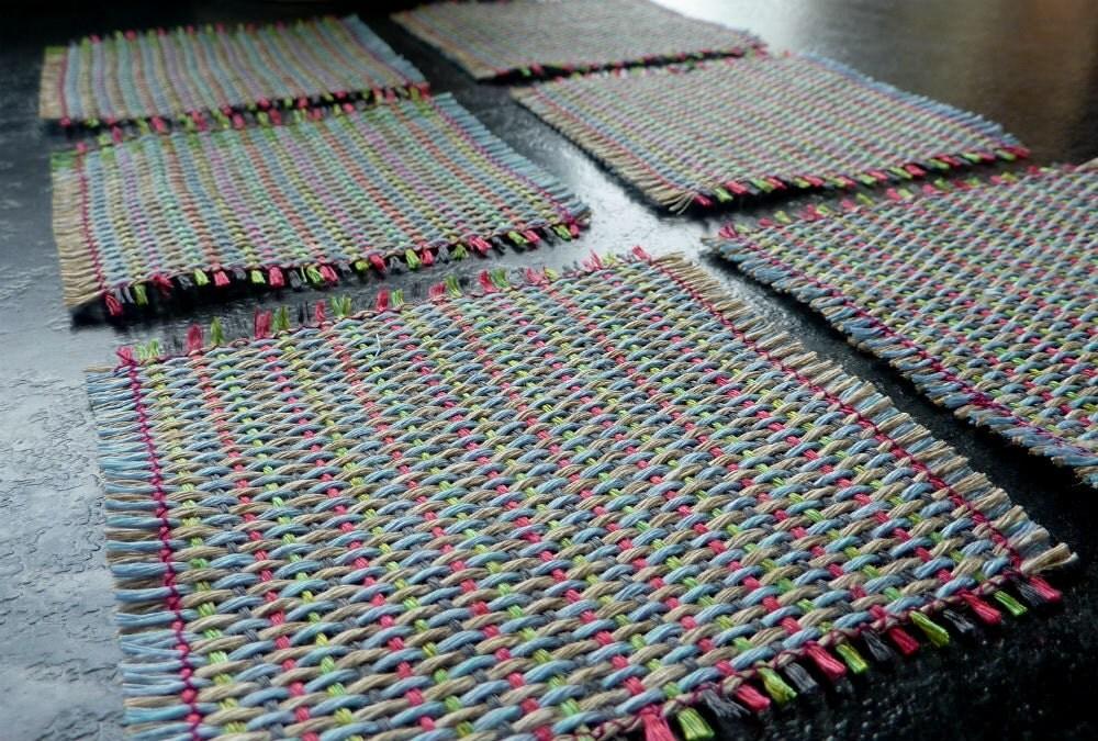Handwoven 100% Linen Coasters - Cerise, Grey & Green - FranPenny