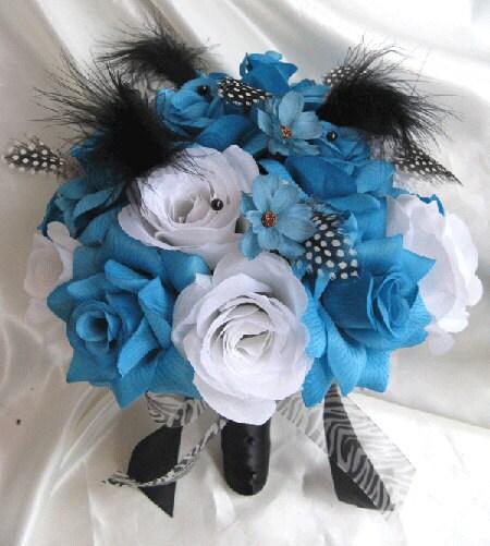 Wedding bouquet Bridal Silk flowers TURQUOISE BLACK WHITE Feathers 17 pc