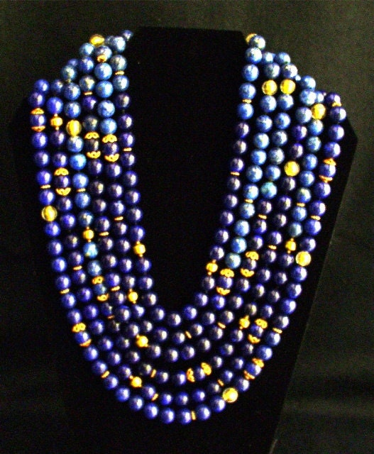Multi/Strand Round Blue Lapislazuli Necklace/18krGold Beads/Murano CrystalBeads/Large Lapislazuli  Stone/14kr. Gold Closure