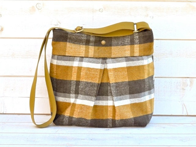 Waterproof AMY Medium chic diaper bag in mustard Honey Gold  titanium Whitecap Gray plaid upholstery