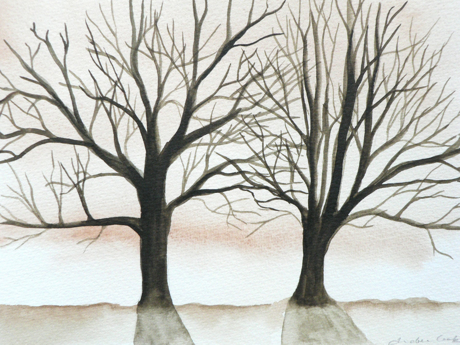 original watercolor painting of tree silhouettes with orange brown background - atelier28