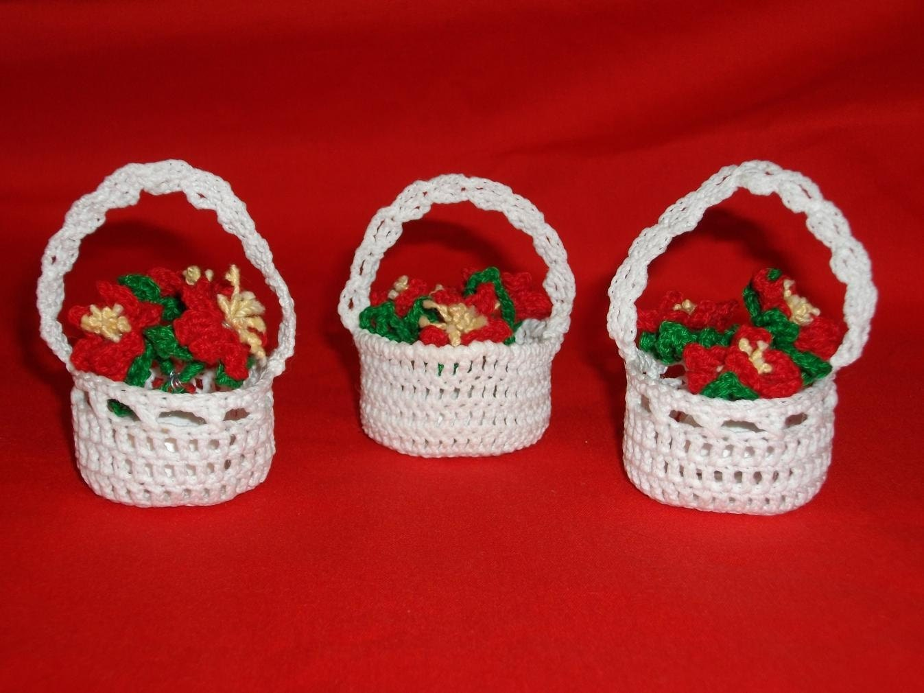 Crocheted Red Poinsettia Baskets