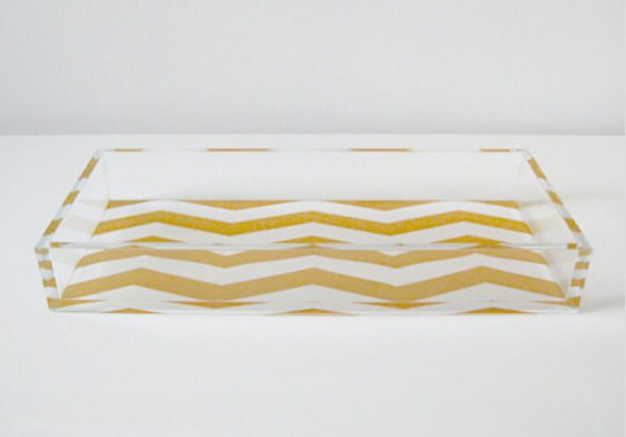 Large Single Compartment Chevron Lucite Tray - Gold/White Holiday 2011