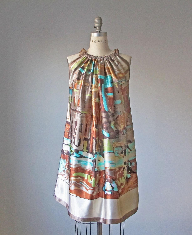 Dress / WEAR ART / Van Gogh / Caramel / Romantic / Dreamy / Soft / Silk / Flowy / Delicate / Tunic / Art Dress