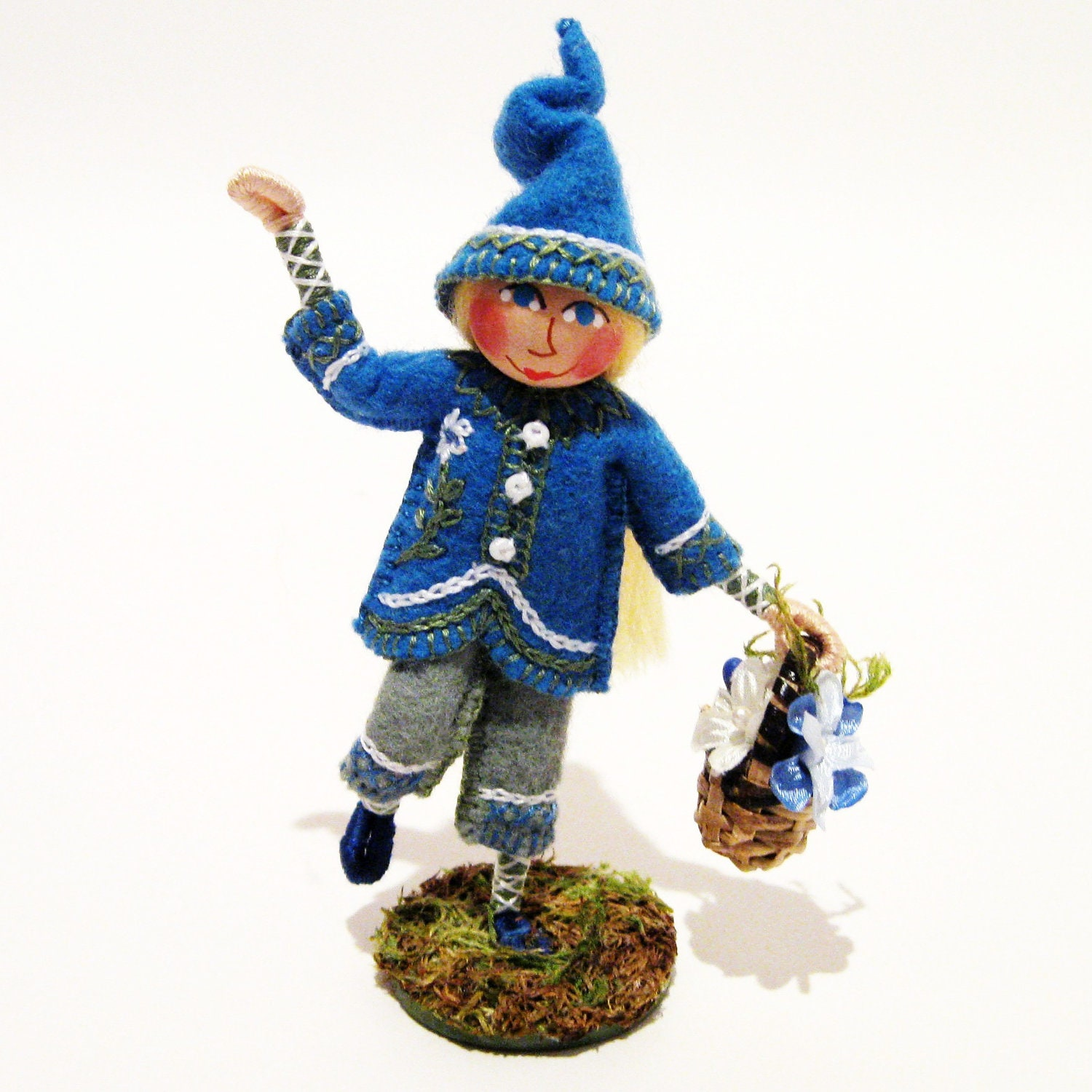 Forget-Me-Not Gnome Art Doll, , Hand Embroidered