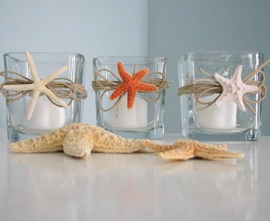 Пляж Декор Starfish Свеча Votives - Shell Свечи Вотивные Держатели ш Трио Starfish пляже