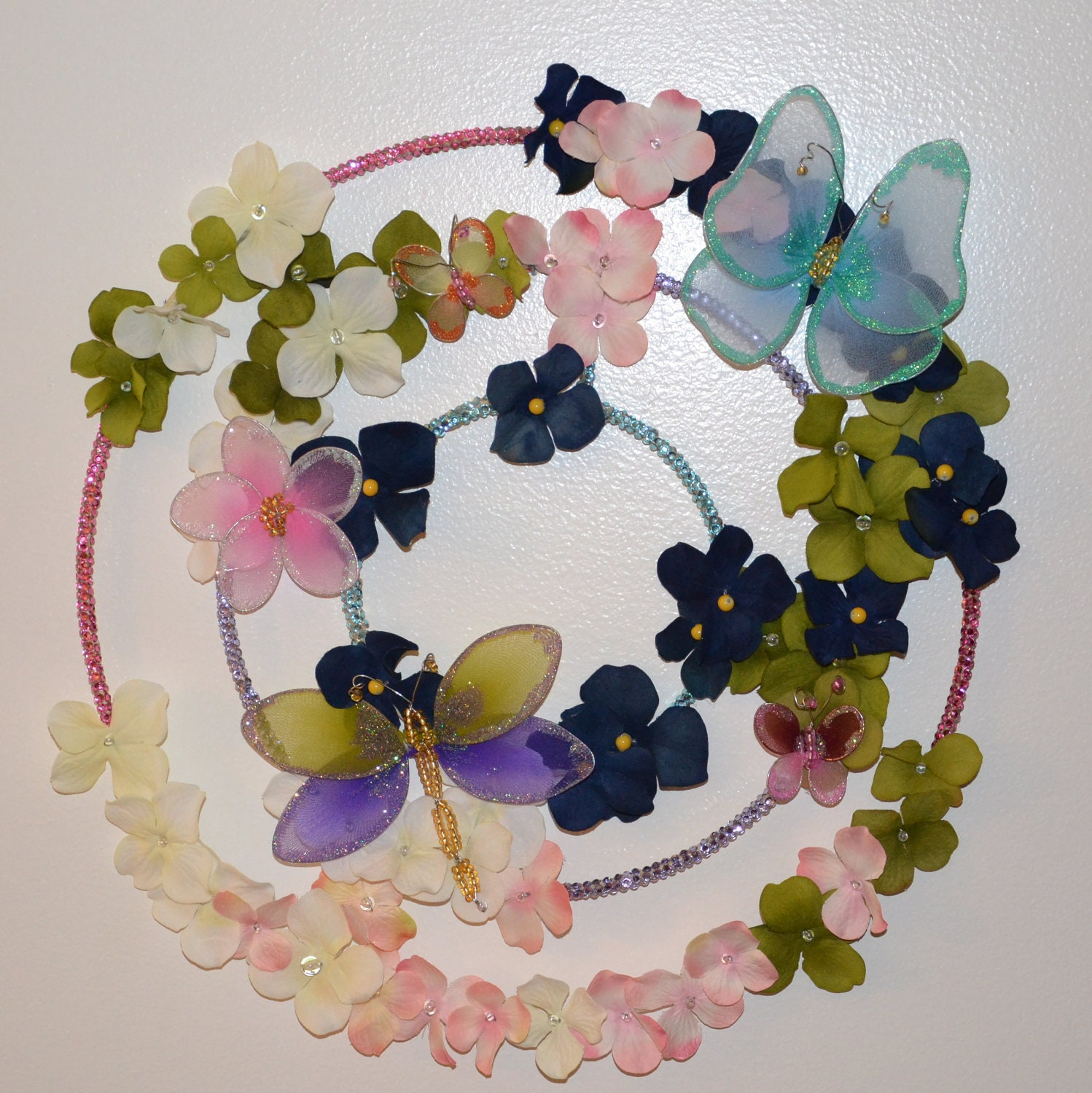 Butterfly Garden Wreath (candle ring) READY TO SHIP