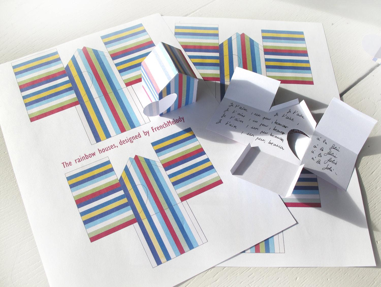 cartes à monter, maisons de l'arc-en-ciel, jpeg imprimable