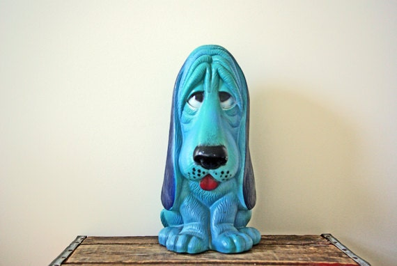 Turquoise Blue Plastic Dog Bank Basset Hound