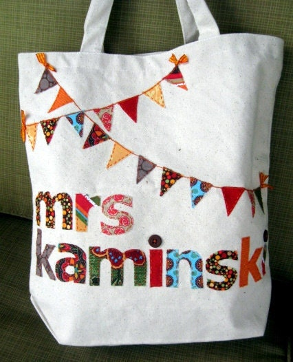 Scrappy Personalized Canvas Bunting Bag