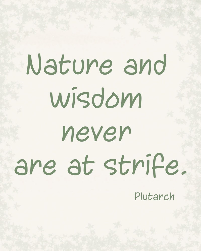 Nature and Wisdom Plutarch quote typography