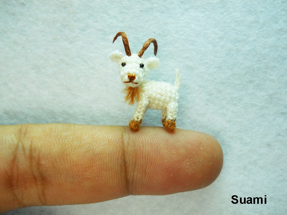 Miniature White Goat - Tiny Crocheted Animals - Made To Order - SuAmi