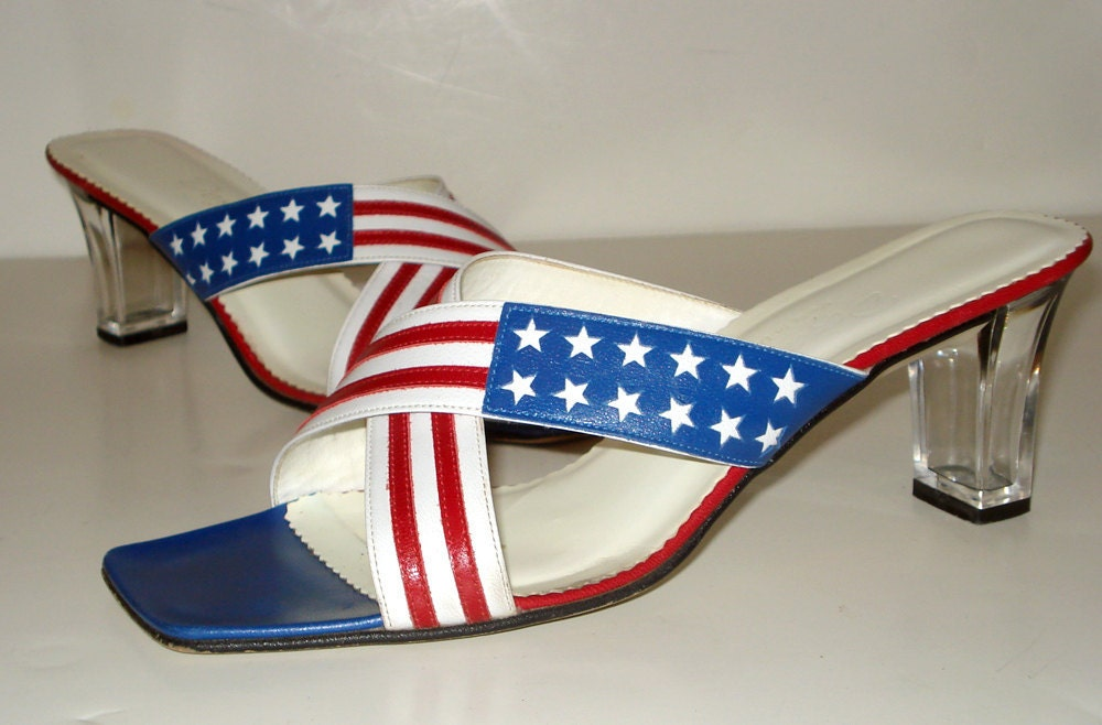 Vintage Dezario Sandals Mules - Red White and Blue - Clear Lucite Heel