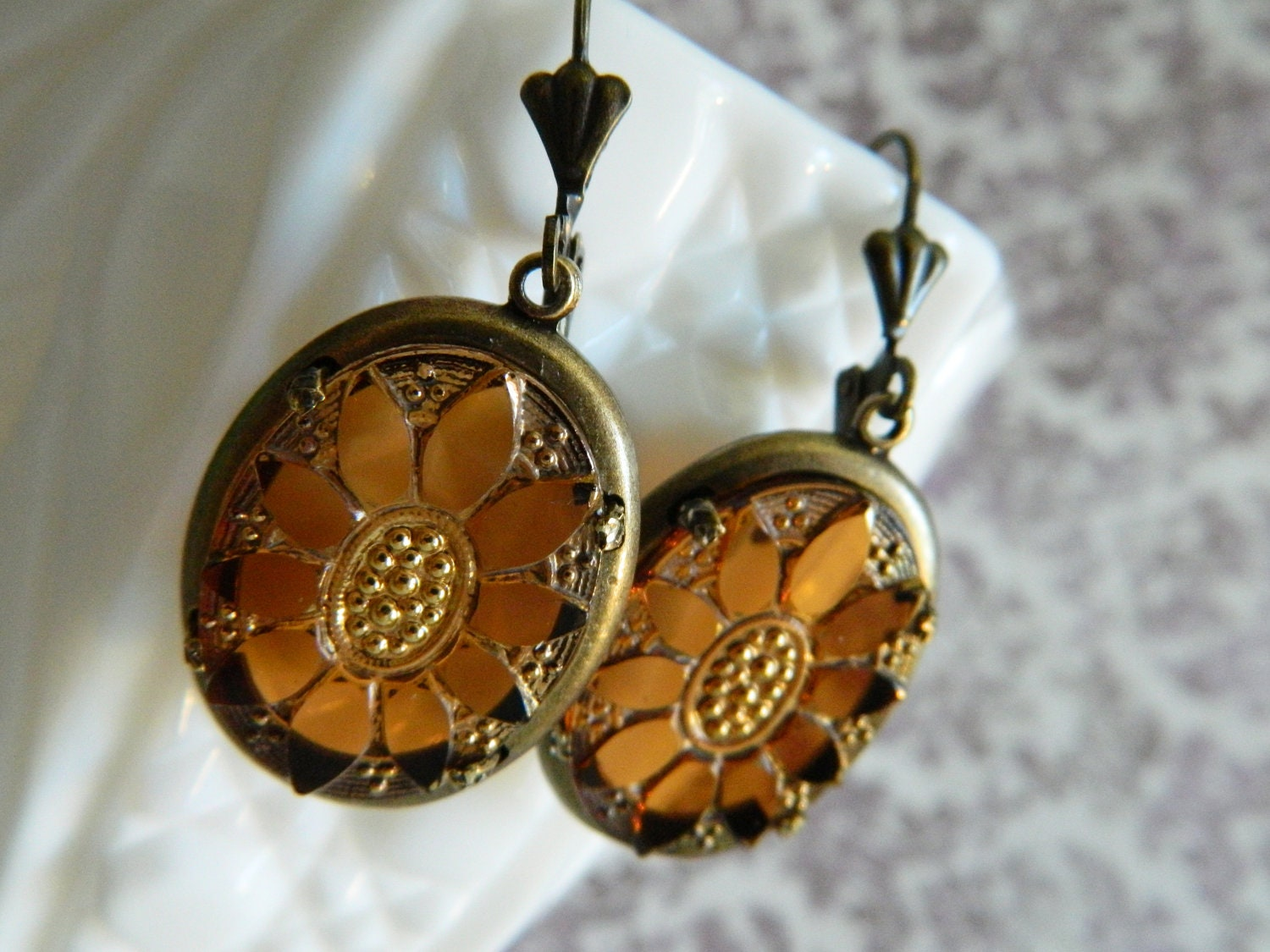 Autumn Earrings Fall Vintage Carved Glass Sunflowers Golden Honey Topaz - Indian Summer
