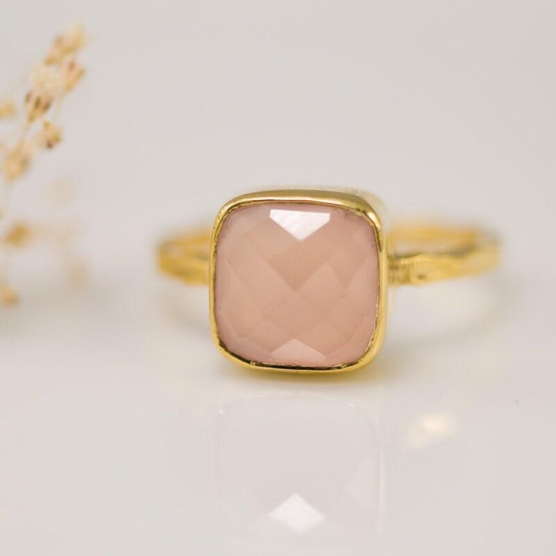 October Birthstone - Cushion Cut Pink Chalcedony Ring - Bezel Set Ring - Pink Quartz ring - Gemstone Ring - Gold Ring