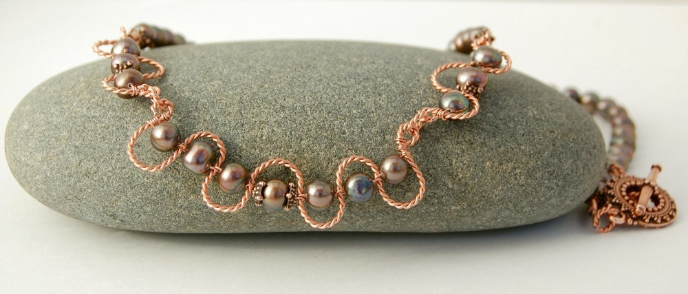 Pearl Necklace - Copper Wire Wrapped Freshwater Pearls - MiscellaneaEtcetera