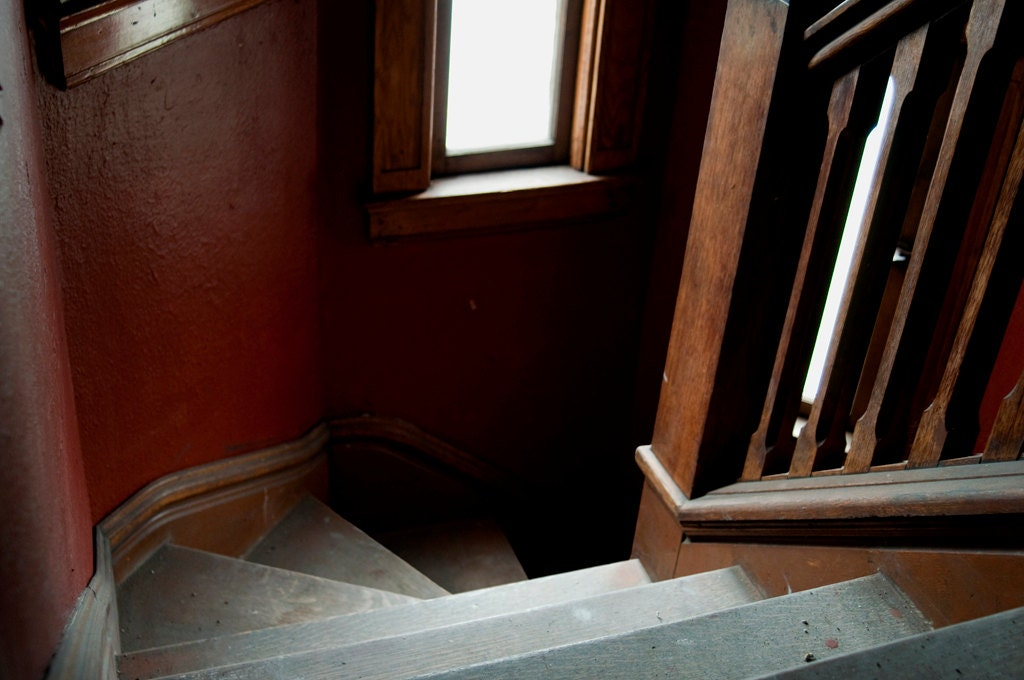 "Dark Red Stairway Photograph 25"" X 38"" - STORMAphotography"