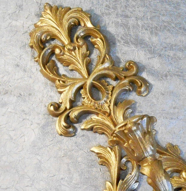 Gold Wall Sconce Ornate plastic gold candle sconce by AnyOldTime