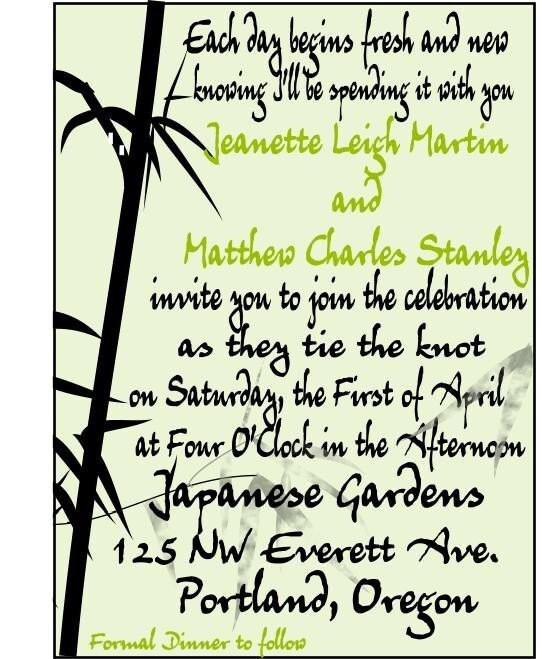 Beautiful Bamboo graphic wedding invitation set custom design