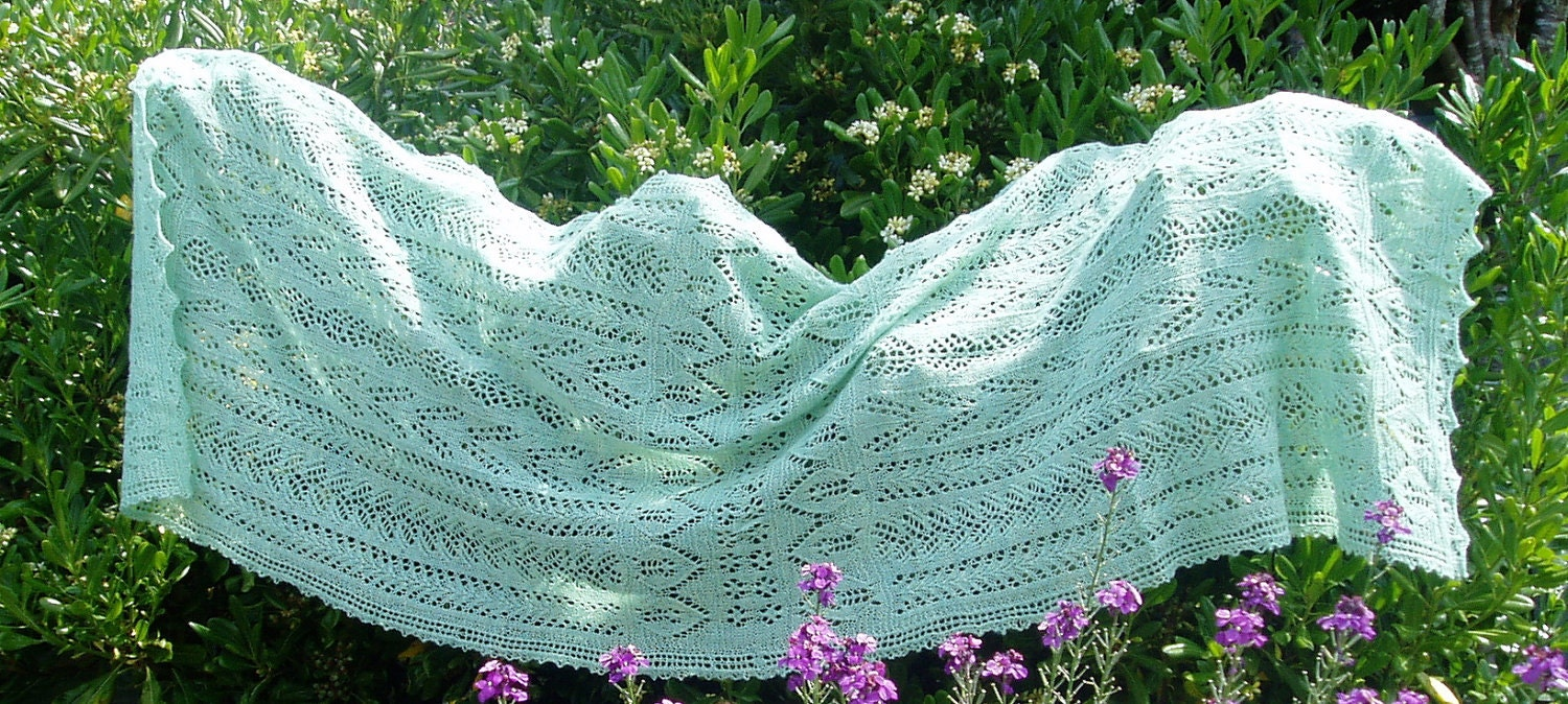 Hand-knitted mint green rectangular Stole or Shawl