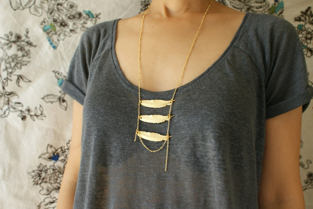layered feather necklace -three metallic feather necklace satellite chain boho layered feather necklace - soradesigns