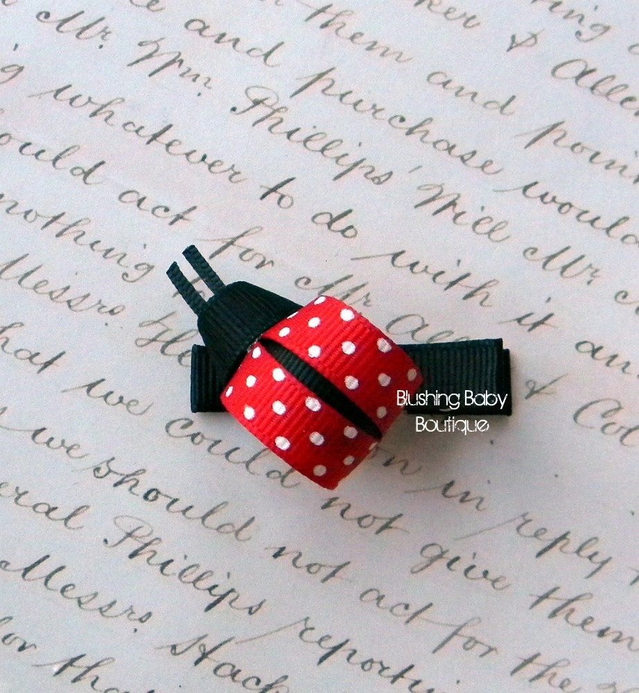 Little Lady Bug Hair Clip-- Perfect for Spring-- Birthdays and Baby Showers