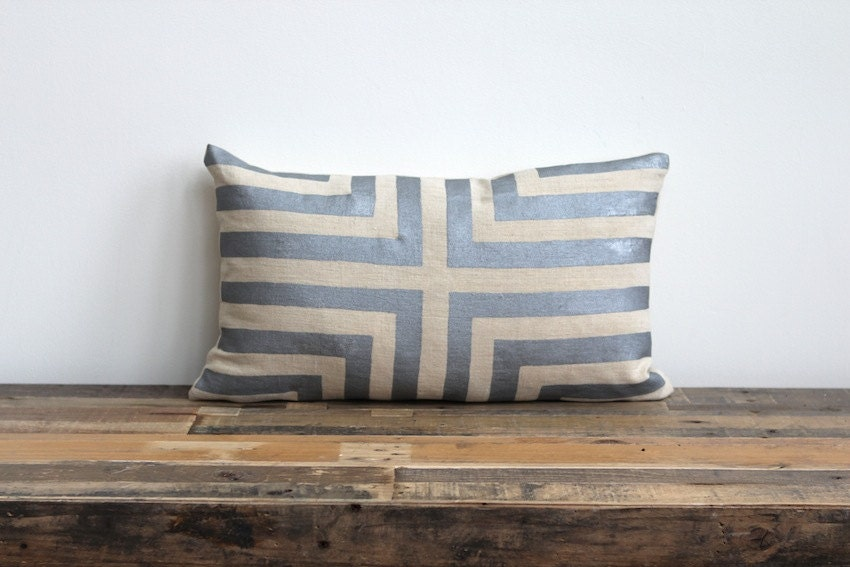 Metallic silver & natural handprinted organic hemp pillow cover 12x21 - melongings