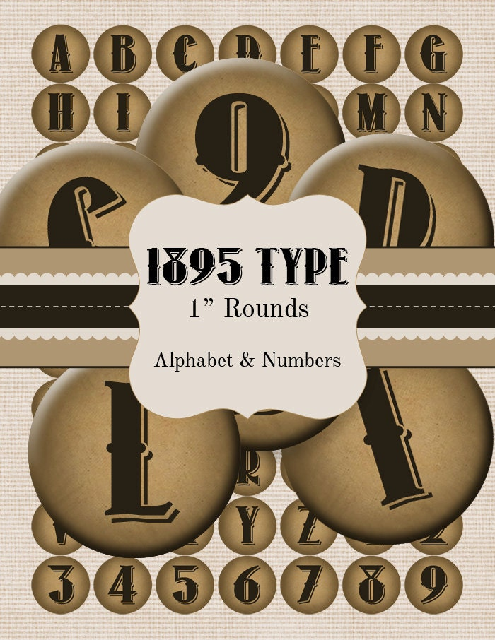 Vintage Type Alphabet  and Numbers 1 inch Circle Rounds Collage Sheet - Kraft Paper Look -Jewelry Scrapbook Charms Art Tags Bottlecap - DIY