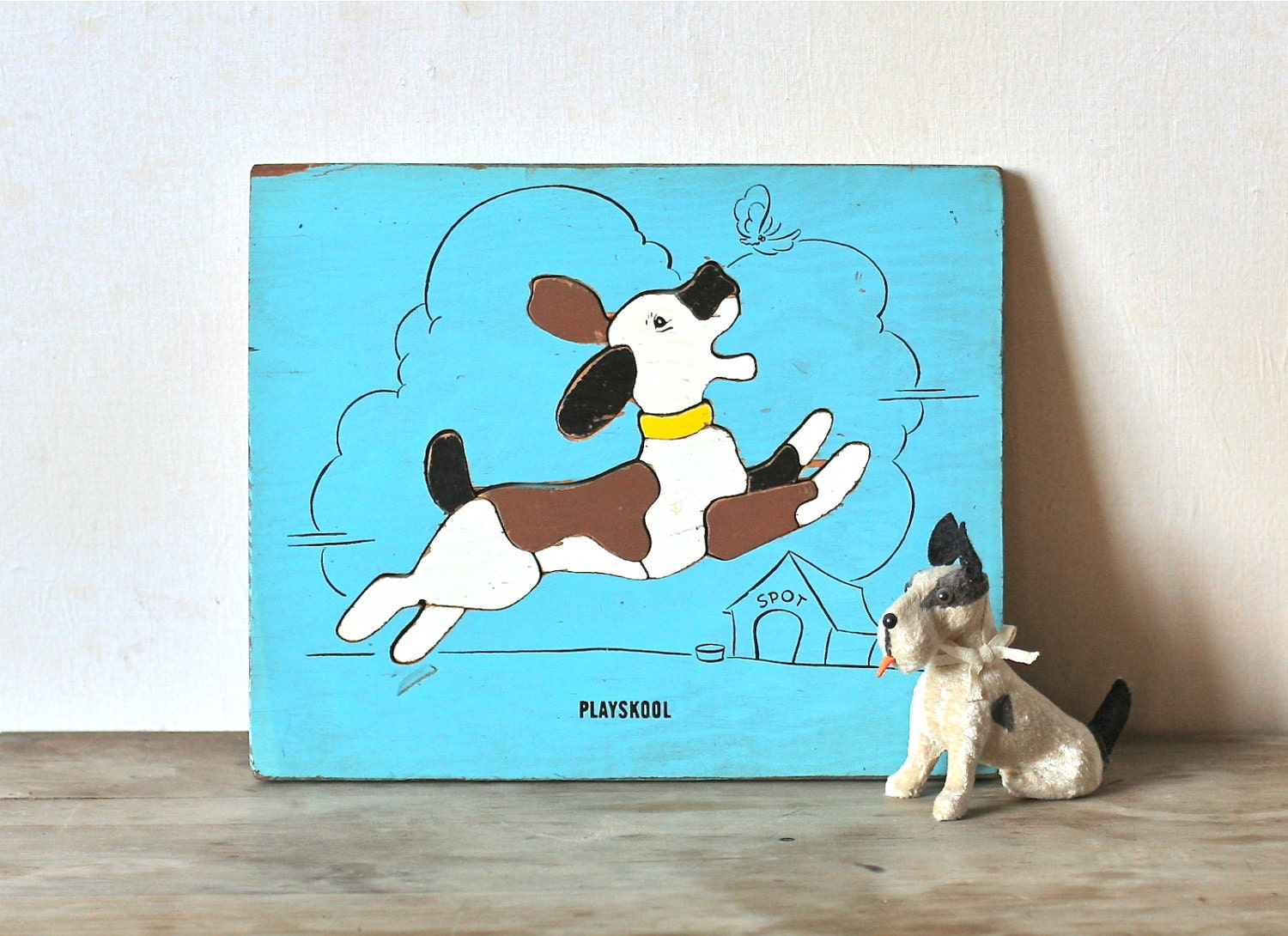 Circa 1950s Playskool Wooden Puzzle Spot The Dog - ivorybird