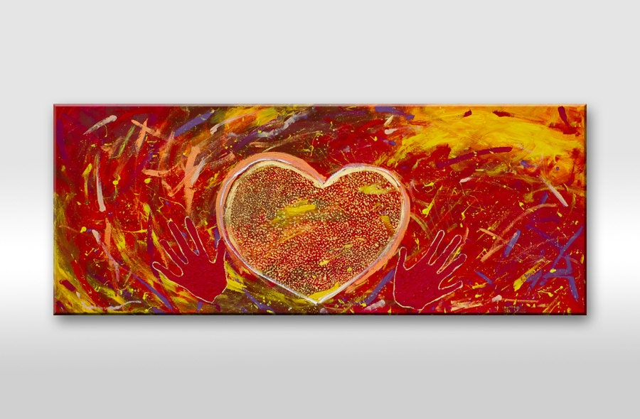 Love painting. Original heart painting on canvas. Red, orange, gold, yellow, hands, couple. Wall art. Love picture. Gift for him. Modern - AstaArtwork