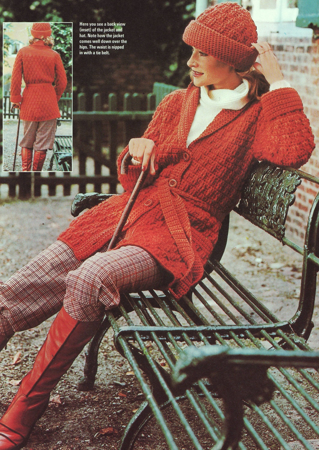PDF CROCHET PATTERN  Belted Jacket and Pull On Hat  Retro Vintage
