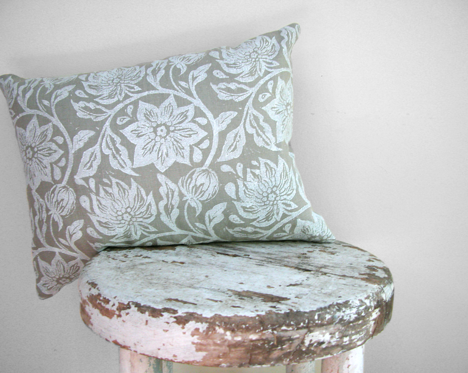White passion flower on warm gray linen home decor cottage chic lumbar pillow case - giardino