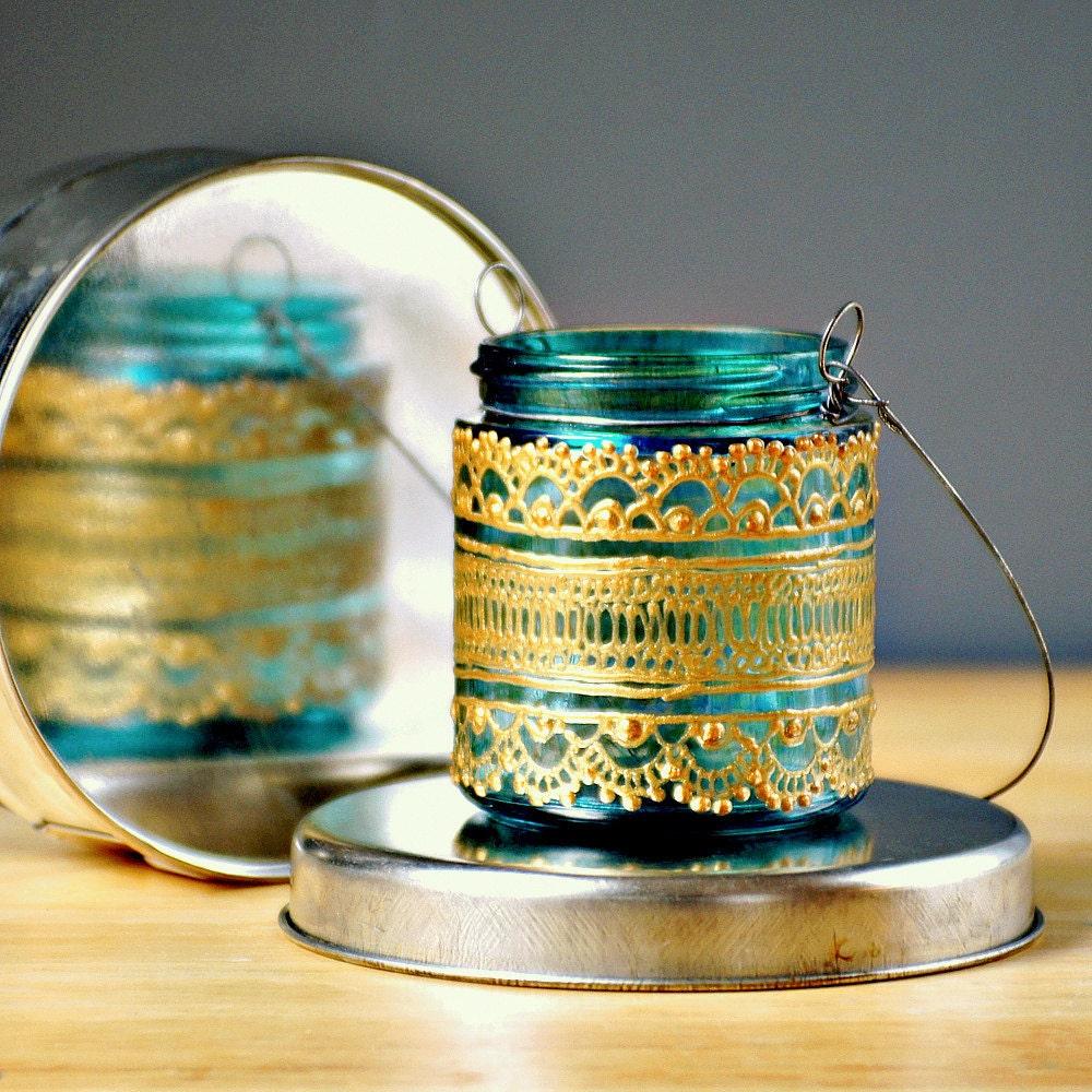 Ручная роспись, марокканских Jar свечах / Висячие мини фонарь, Аквамарин стекла с золотыми акцентами