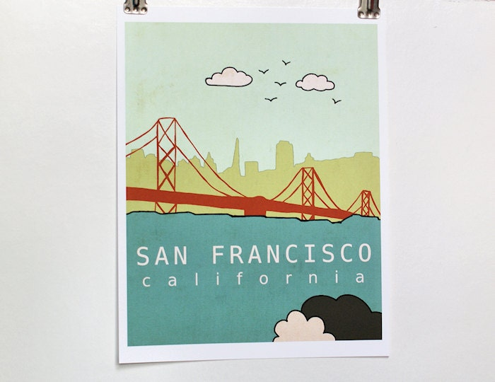 Affordable Fine Art Print - San Francisco No.1 - Travel City Skyline Typography Poster