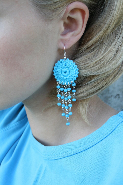 Crochet Hoop Earrings with beads - bariand