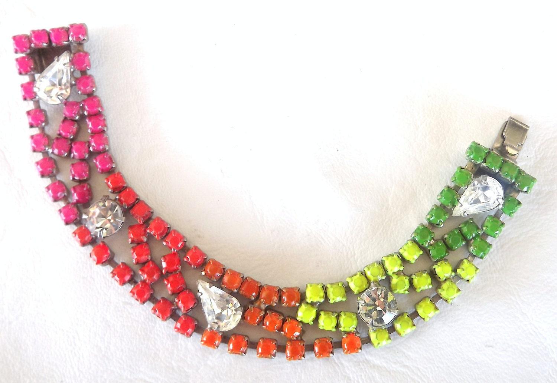 Neon rainbow vintage rhinestone bracelet - FionaMelvilleDesigns