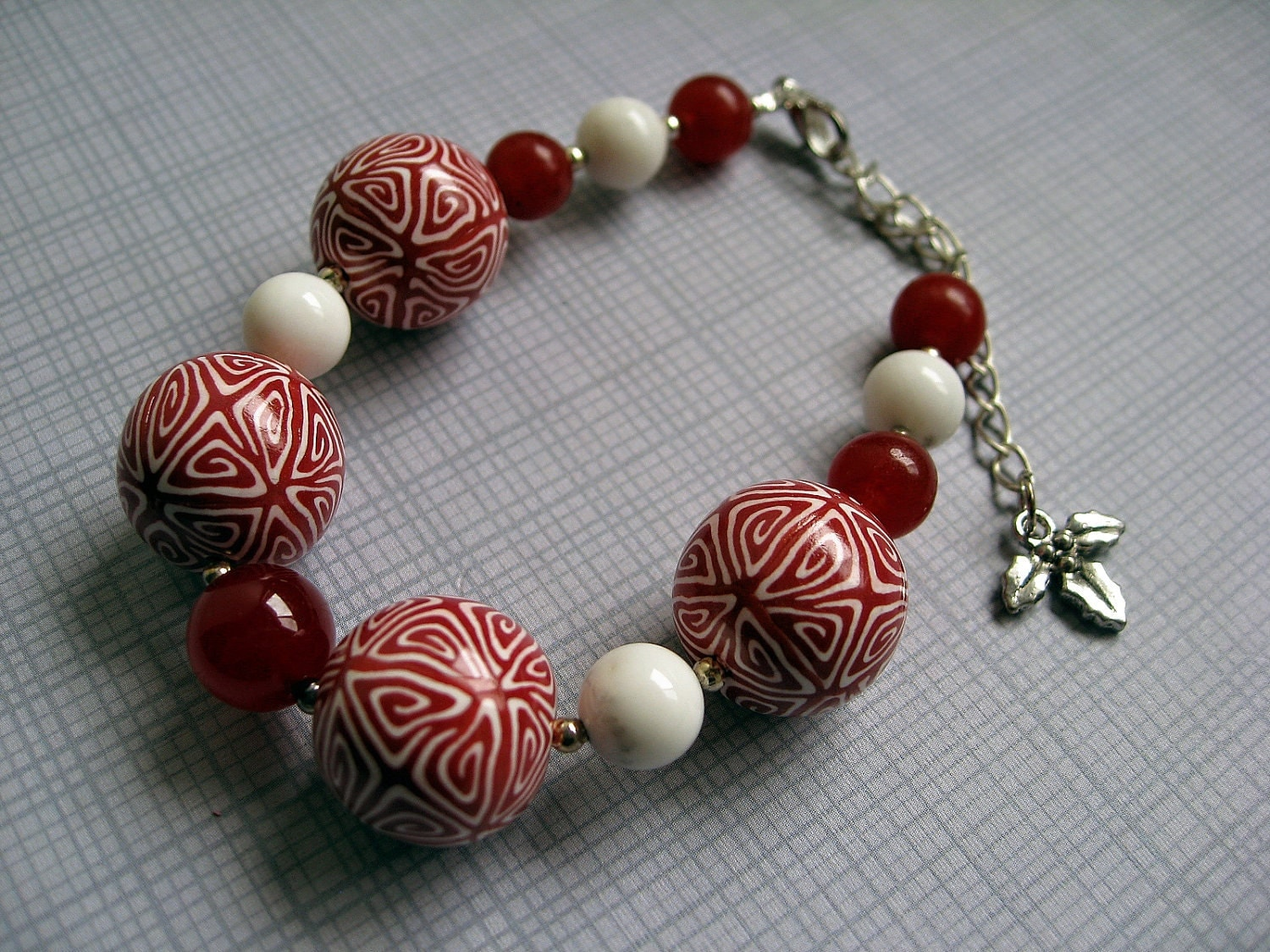 Celtic Christmas - Polymer Clay Bracelet with Holly Charm