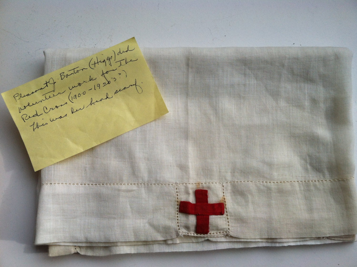 Antique WW I Red Cross Head Scarf - Sewlovetextiles
