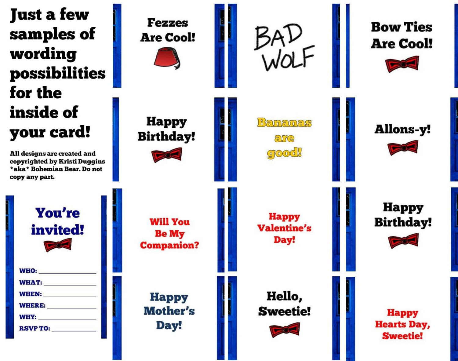 Doctor Who Inspired TARDIS Greeting Card, Blue Police Box by Bohemian Bear, Happy Mother's or Father's Day, Easter