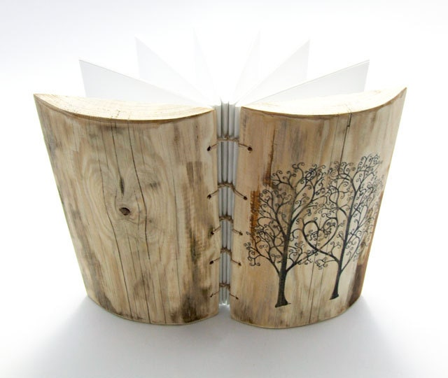 Custom Wood Wedding Guest Book Rustic Journal Double Tree of Life wooden guestbook - KatDeco