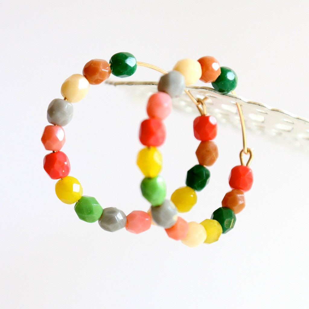 Colorful Beaded Gold Filled Hoops