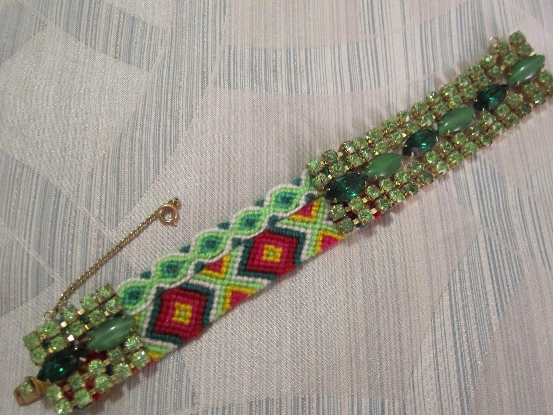 """Vintage Rhinestone Friendship Bracelet- """"Santa Baby"""""""