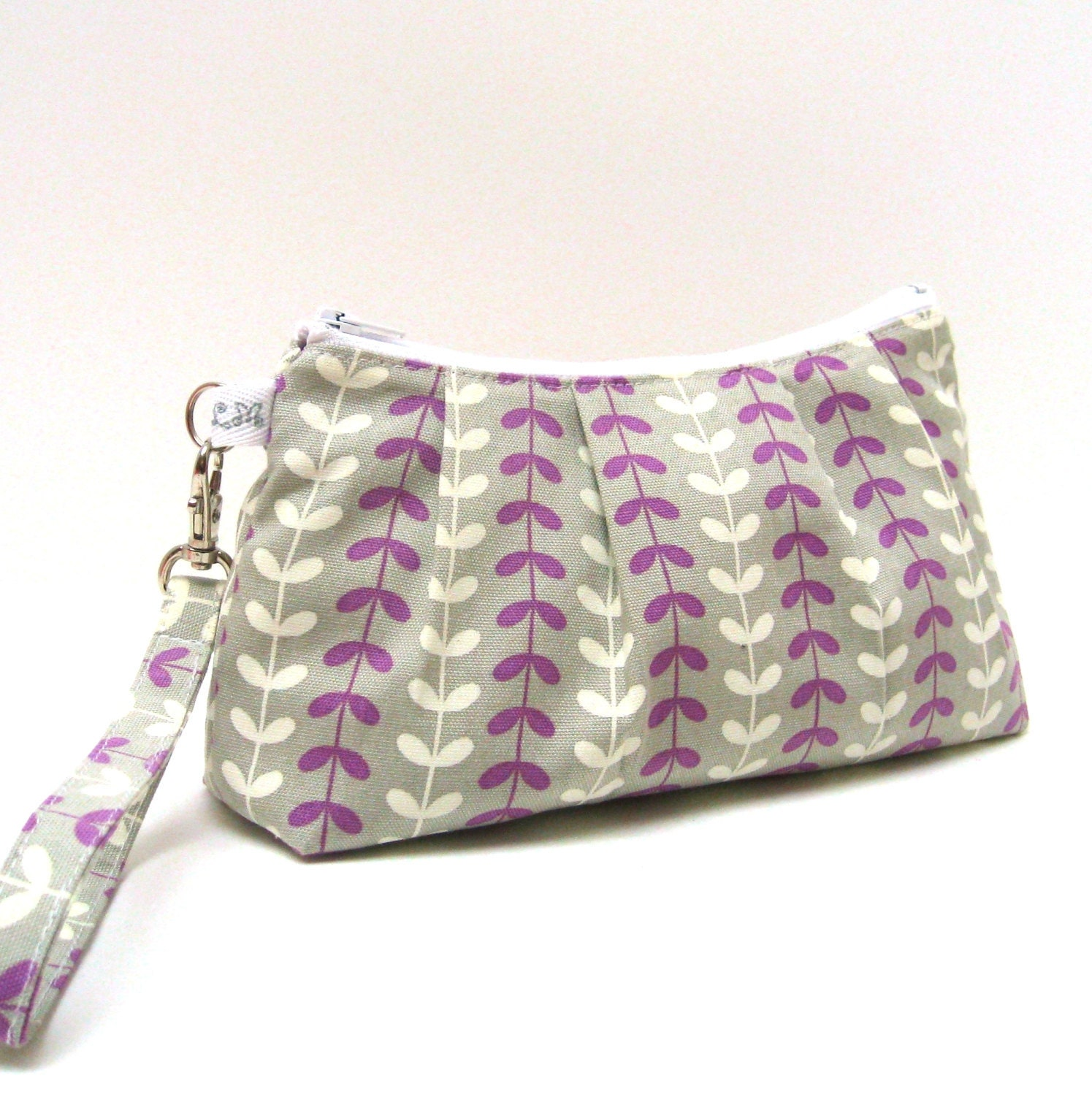 Rectangular Wristlet Clutch Purse Purple and White Vines on Grey - LMcreation