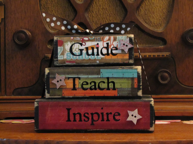 Teacher Gift -  Guide, Teach, Inspire Word Blocks  Teacher Sign - PunkinSeedProduction