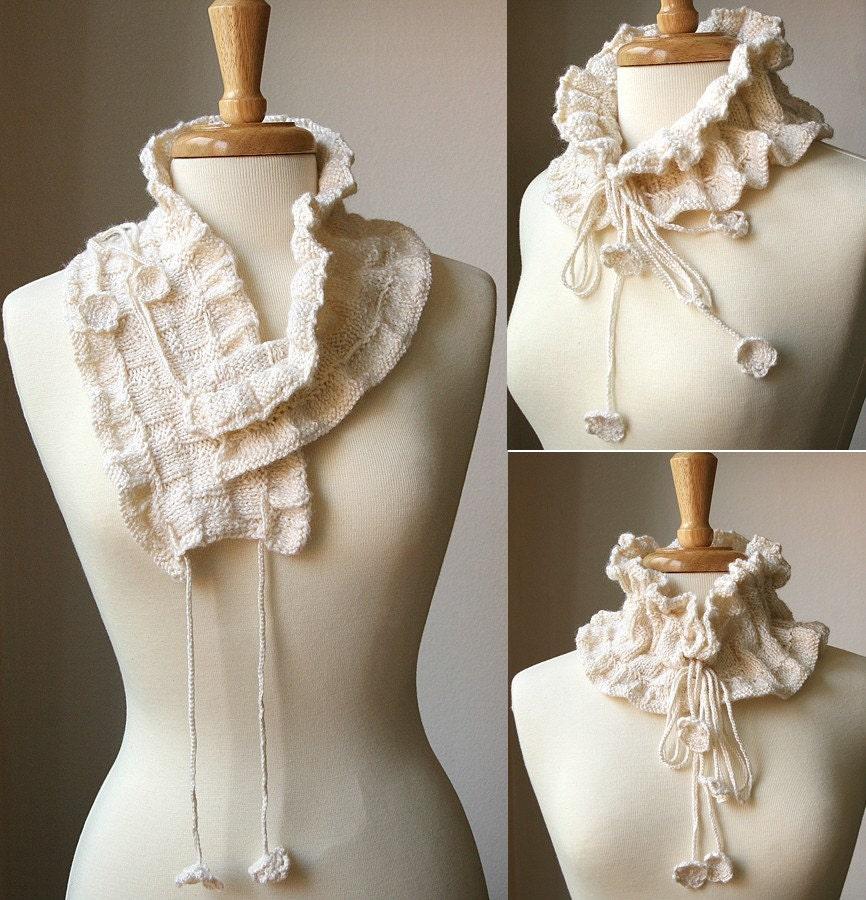 Fall Winter Fashion - Knitting Pattern PDF - Feminine Scarf Collar - Victoriana Scarflette - Original Design by Elena Rosenberg - AtelierTPK