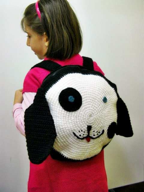 Black /white little dog  backbag for children
